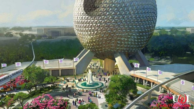 Artist's rendering of the new Epcot entryway, featuring greenery, fountains, and a planet-killing laser. © 2019 Disney.