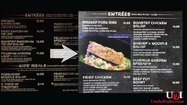 The temporary menu change caused by an embargo on alien ingredients. Photo by paleodisney.net & jedinews.co.uk.
