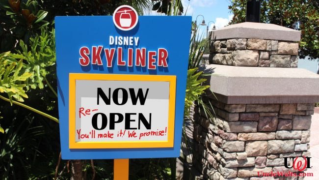 Empty promises on a Skyliner sign. Photo by wdwnt.com.