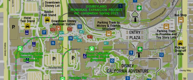 The proposed Disneyland monorail extension and new stations! Photo by atsirlin [CC BY-SA 3.0] via Wikimedia.