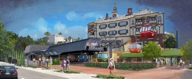 Artist's concept of the Camelot Inn & Suites Skyliner station on Harbor Blvd. Photo © 2018 Disney & 2019 Google Street View.