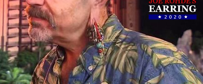 Official campaign photo of Joe Rohde's Earring, courtesy Joe Rohde's Earring for President 2020. Photo by alchetron.com [CC BY-SA 3.0].