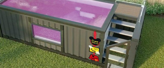 Prototype of new Disney walk-through hand sanitizer tank. Photo courtesy freeskins.co.