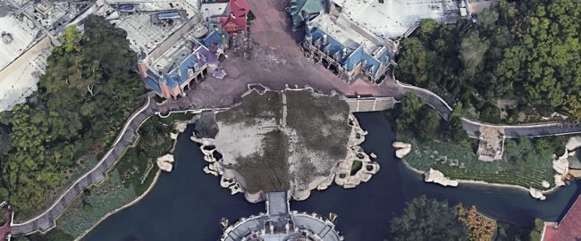 Where Cinderella Castle used to be. Photo © 2020 Google Earth (modified a bit).