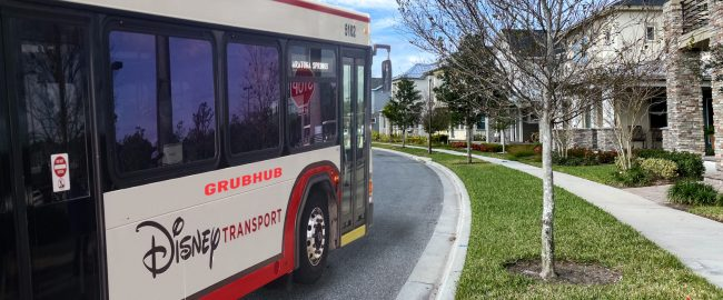 A Disney bus on a Grubhub delivery. Photo by Joni Hanebutt via Shutterstock.com & elisfkc [CC BY-SA 2.0] via Wikimedia.