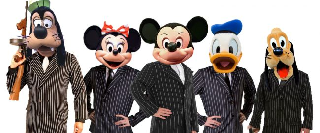 Disney Fabulous Five - Mickey, Minnie, Donald, Goofy, and Pluto - dressed as their new theming requires, in pinstripe suits for the transition from the Mickey Mouse Club to the Mickey Mouse Mafia. Goofy has a Tommy gun