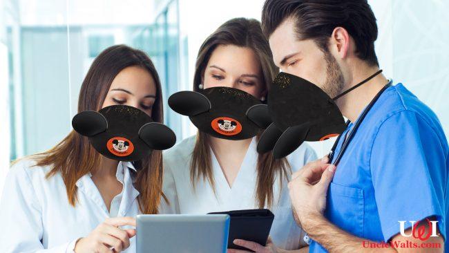 A medical team models the donated Mickey ear masks. Photo [CC0] via Pxhere.