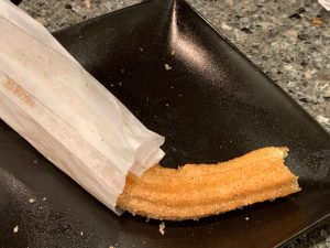 a churro from an authentic Mexican restaurant bends unlike the churros from Disney parks