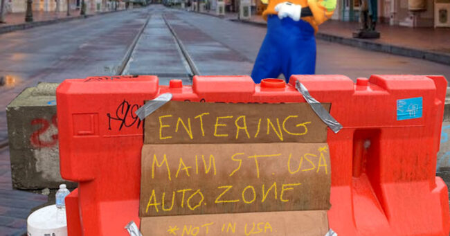 A barricade at the entrance to the Main Street U.S.A. Autonomous Zone, which they're claiming isn't in the U.S.A.? Photo courtesy disneyparks.com, mynorthwest.com, & kennythepirate.com.