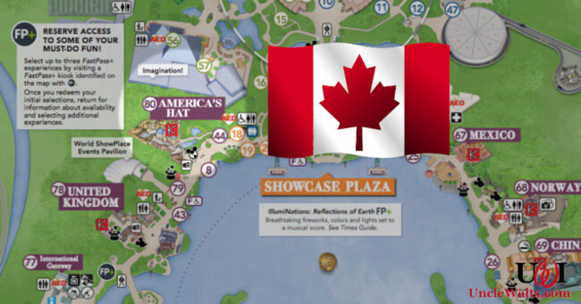 """Canada, """"America's Hat,"""" according to the Epcot Map. Image © Disney, perhaps modified a tad."""