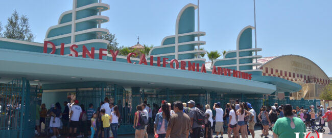 The entrance to Disney formerly-California Adventure. Photo by Neon Tommy [CC BY-SA 2.0] via Wikimedia.