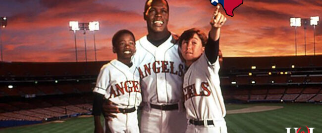 In a heartwarming moment from Angels in the Outfield (1994), a young Joseph Gordon-Levitt shows Danny Glover where the team should move. Photo © 1994 Disney.