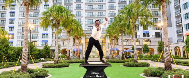 Alphonso Ribeiro statue at Disney's Ribeiro Resort. Photo by Summer Hull/The Points Guy, modified slightly.