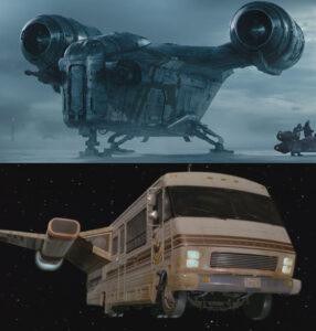 Top: the Space Winnebago. Bottom: the Razor Crest.