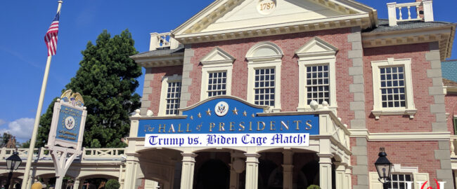 The new Hall of Presidents, featuring a Trump vs. Biden Animatronic Cage Fight. Photo by elisfkc [CC BY-SA 2.0] via Wikimedia.