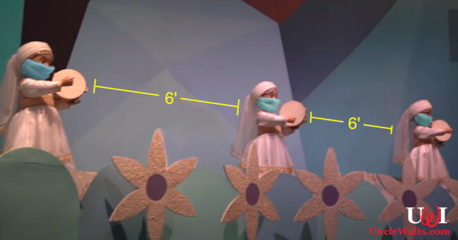 it's a small world of social distancing. Video still by Inside the Magic via YouTube.