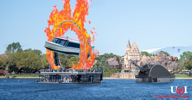 I jumped my boat through a burnin' ring of fire.... Photo bits assembled from DisneyFoodBlog, WDW News Today, BlogMickey.