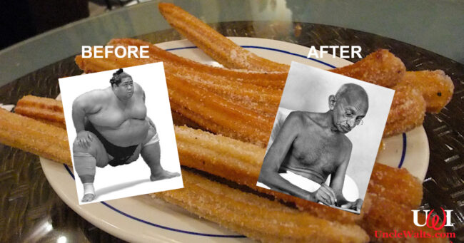 Totally not fake before and after photos of this guy. Churro photo by Mark Mitchell [CC BY 2.0] via Flickr; Before photo [CC BY-NC-ND 3.0] from probaway.com; After photo Public Domain via Wikimedia.