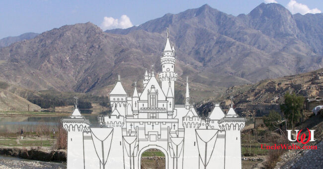 Artist's rendering of the site of Disneyland Kabul, before the fall. Photo by Sven Dirks via Wikimedia & BloomyLiahona via DeviantArt, both [CC-BY-SA-3.0].